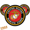 "MARINES USMC CIRCLE 4"" - 3 Pack Vinyl Sticker"