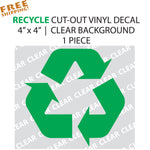 "RECYCLE SYMBOL 4"" Cut-out Vinyl Lettering Novelty"