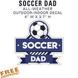 SOCCER DAD Full-Color Sticker Decal Team Dad - American Football - Novelty