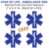 "Star of Life 2"" Reflective Sticker 4pcs SMALL Set EMS EMT"