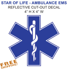Star of Life Reflective Sticker EMS EMT
