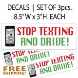 Phone Stop Texting & Drive Bumper Sticker Set