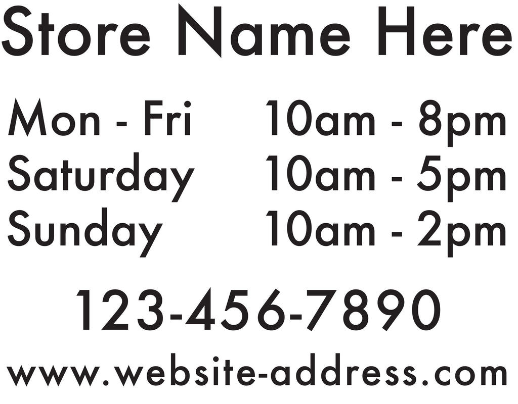 "STORE HOURS 12x15"" Cut-out Vinyl Lettering Business Sign"