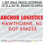 "CUSTOM TRUCK LETTERING 12x24"" Pair - 1 set Cut-out Vinyl Lettering Sign"