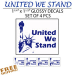 "UNITED WE STAND 1.5"" Multi-pack Vinyl Stickers w/ Statue of Liberty"