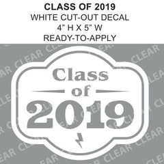 Class Of 2019 Retro Graduation Cut-out White vinyl decal