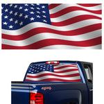 "U.S. FLAG WAVING 60"" Window Perforated Vinyl Sticker"