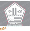 "9/11 SEPTEMBER 11 Clear Cut-out Sticker - 4"" White-ink"