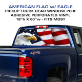 Pickup Truck BALD EAGLE-FLAG BACK WINDOW GRAPHIC DECAL PERFORATED VINYL SIGN AMERICAN USA Flag