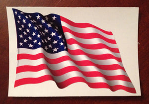 "U.S. FLAG WAVING 6"" or 9"" Vinyl Sticker"