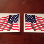 "U.S. FLAG WAVING PAIR 6"" or 9"" Vinyl Stickers"