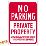 "12""X18"" NO PARKING PRIVATE PROPERTY ALUMINUM SIGN Tow Towed Heavy Duty Metal"