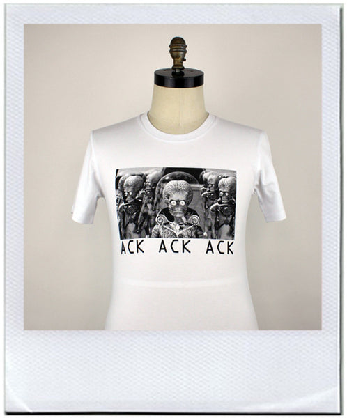 Ack ack ack Mars attacks print on mans t-shirt by duncan mclean Wellington New Zealand