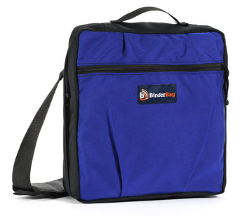 Blue messenger bag.