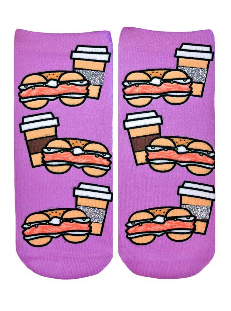 Bagel And Coffee Ankle Socks