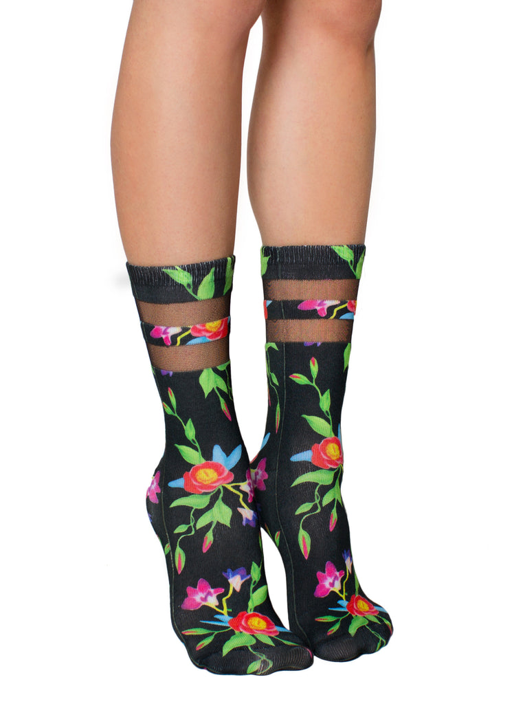 Black Ivy Mesh Socks