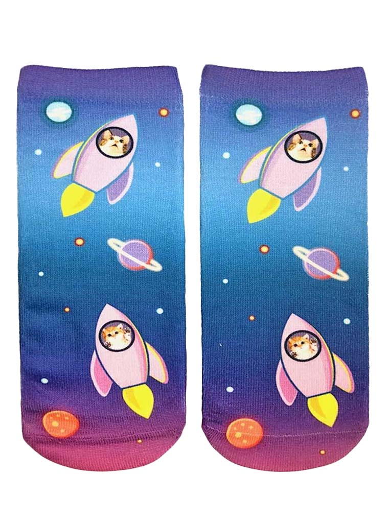 Blast Off Cats Ankle Socks