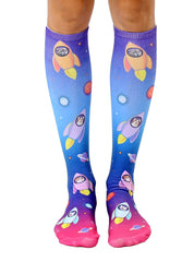 Blast Off Cats Knee High Socks
