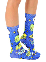 Blue Comic Crew Socks