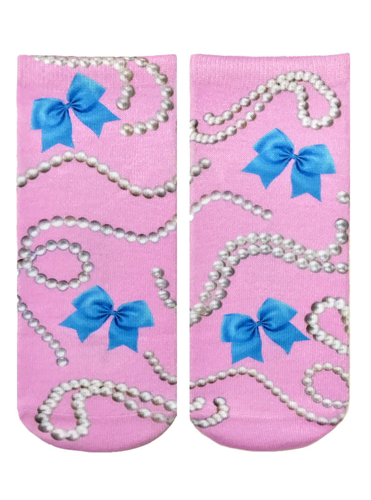 Bows And Pearls Ankle Socks