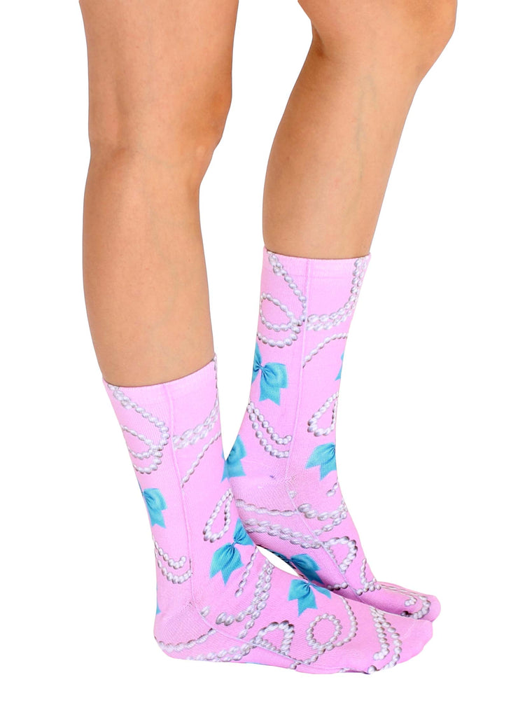 Bows And Pearls Crew Socks