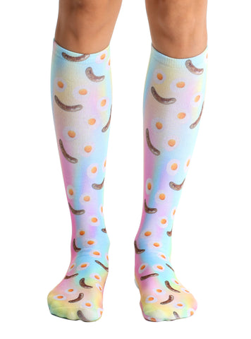 Breakfast Smiley Knee High Socks