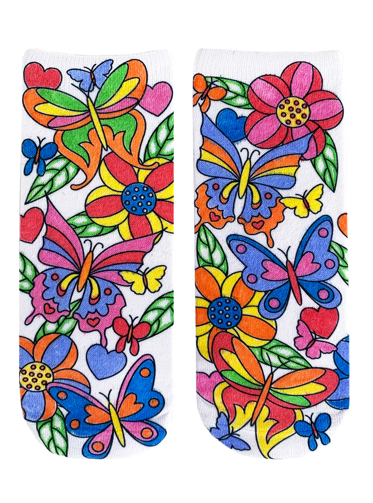 Color-In Socks Butterfly Flurry