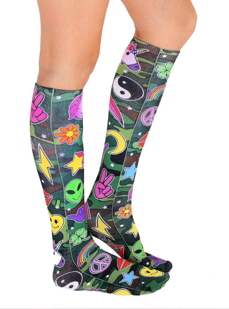 Camo Patch Knee High Socks