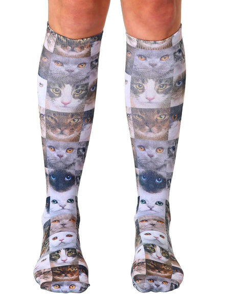 Cat Faces Knee High Socks