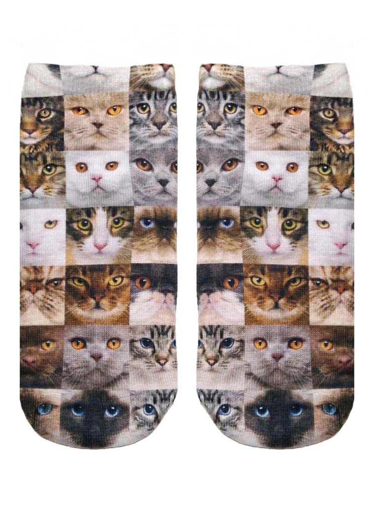 Cat Faces Ankle Socks