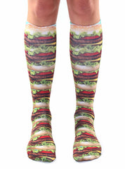 Stacked Hamburger Knee High Socks