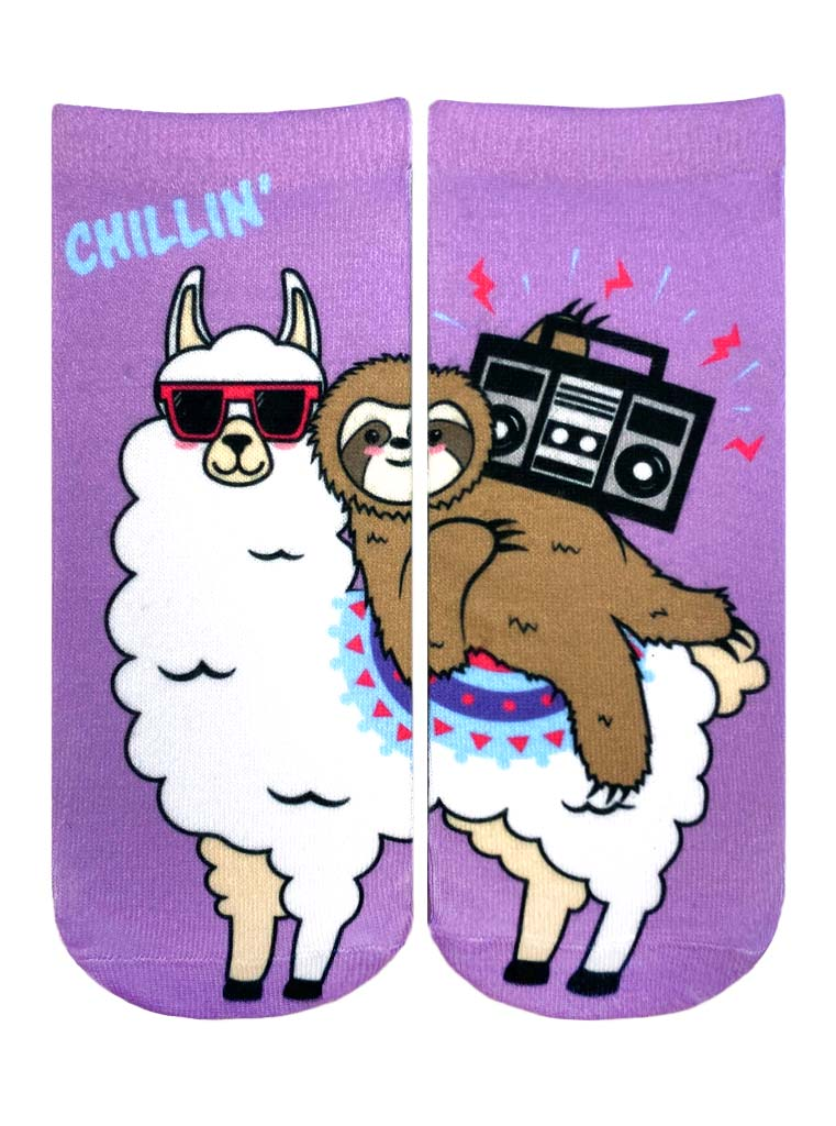 Chillin' Llama Sloth Ankle Socks