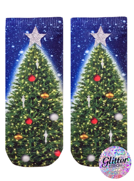 Glitter Christmas Tree Ankle Socks