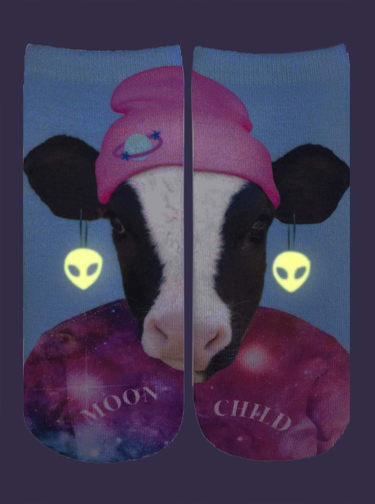 Moon Cow Ankle Socks