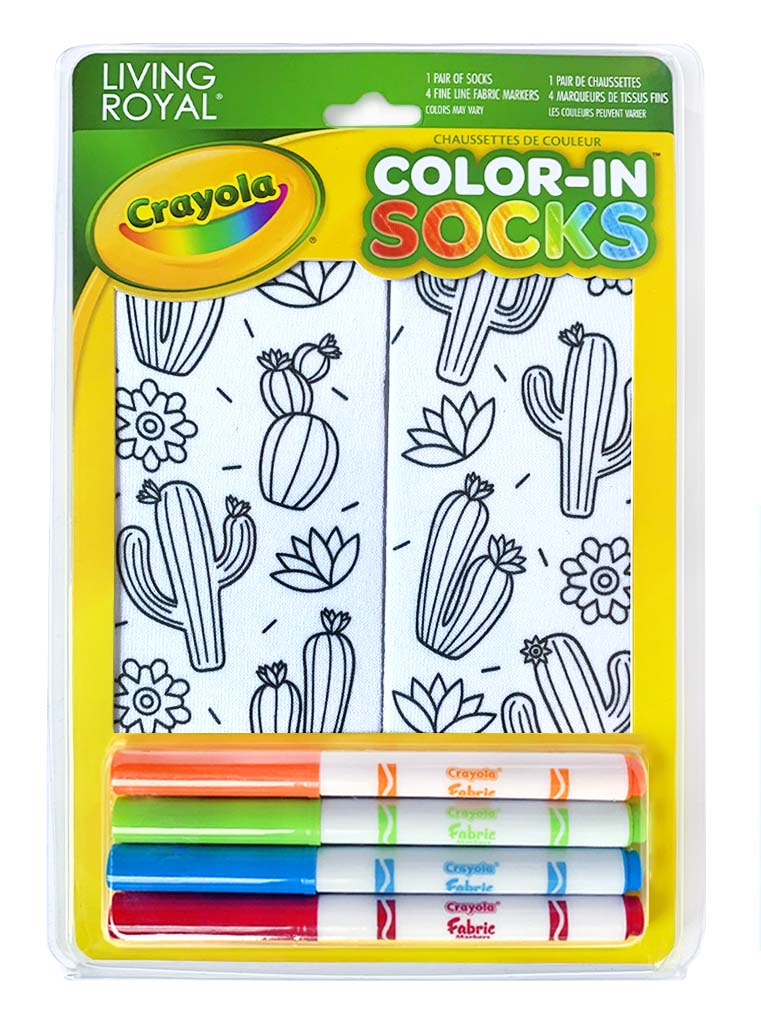 Color-In Socks Cute Cactus