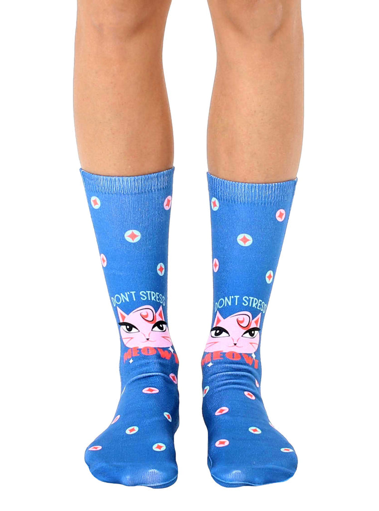 Don't Stress Meowt Crew Socks