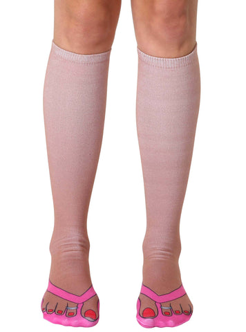 Flip Flops Tan Knee High Socks