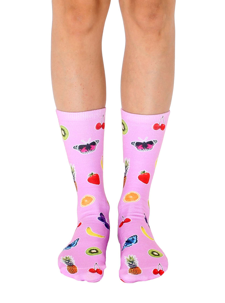 Fruits and Butterflies Crew Socks