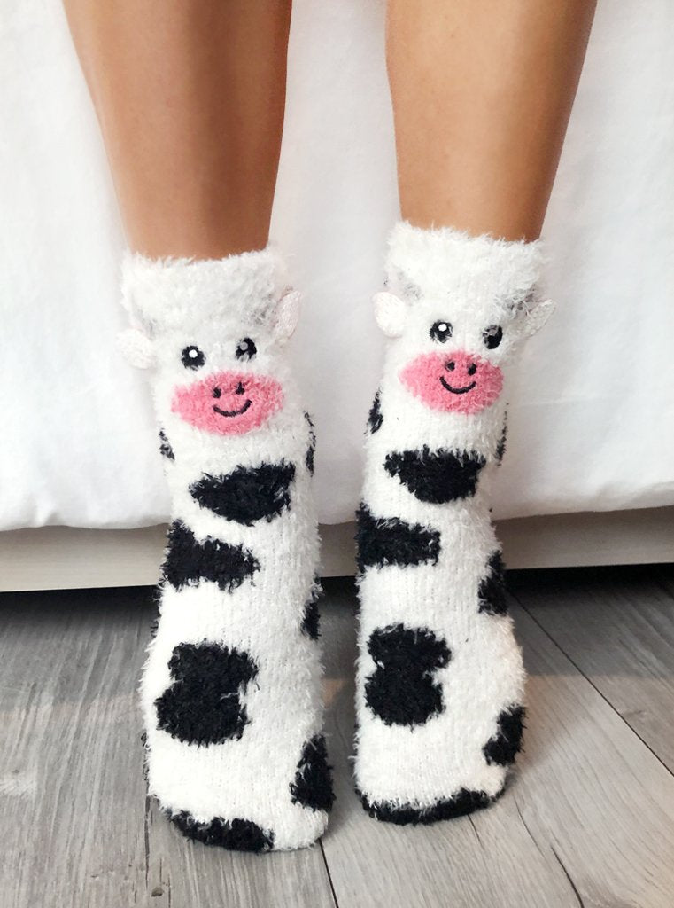 Fuzzy Cow Crew Socks
