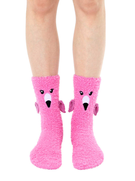 Fuzzy Flamingo Crew Socks