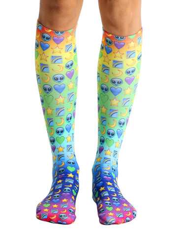Galaxy Emoji Knee High Socks