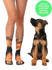 German Shepherd Paws Crew Socks