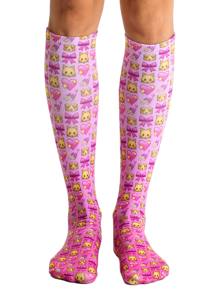 Girly Emoji Knee High Socks