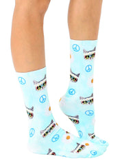 Hippie Cat Crew Socks