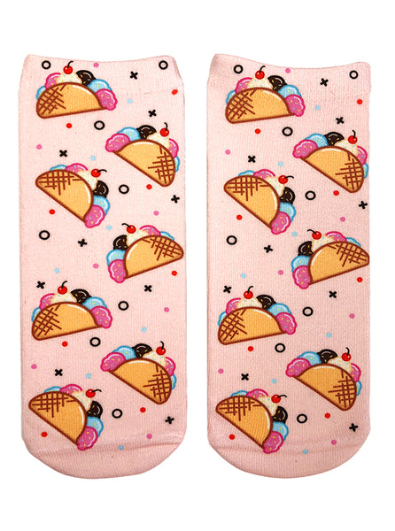 Ice Cream Taco Ankle Socks