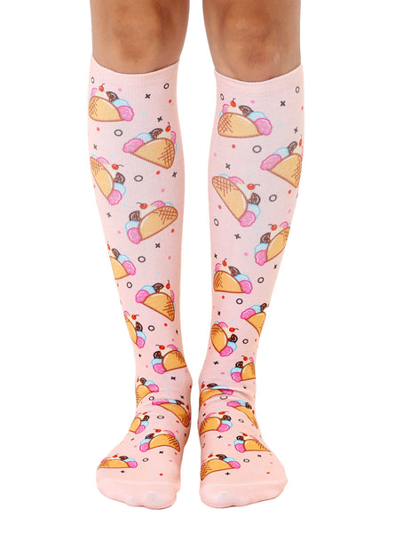 Ice Cream Taco Knee High Socks