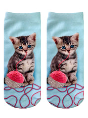 Kitten and Yarn Ankle Socks