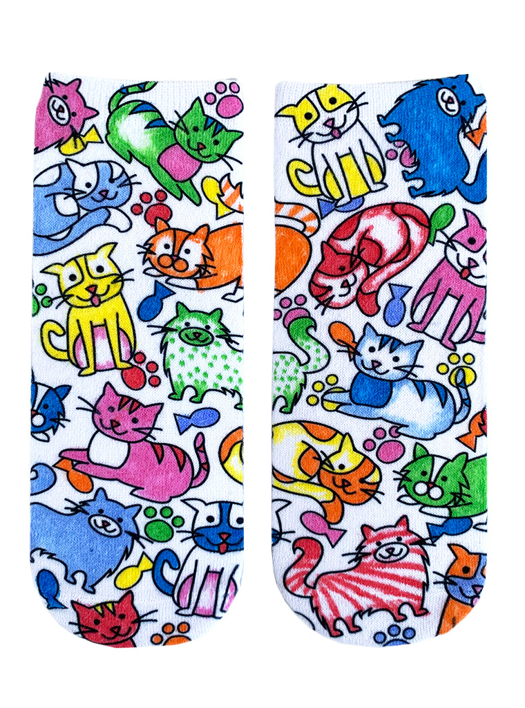 Color-In Socks Kittens Galore