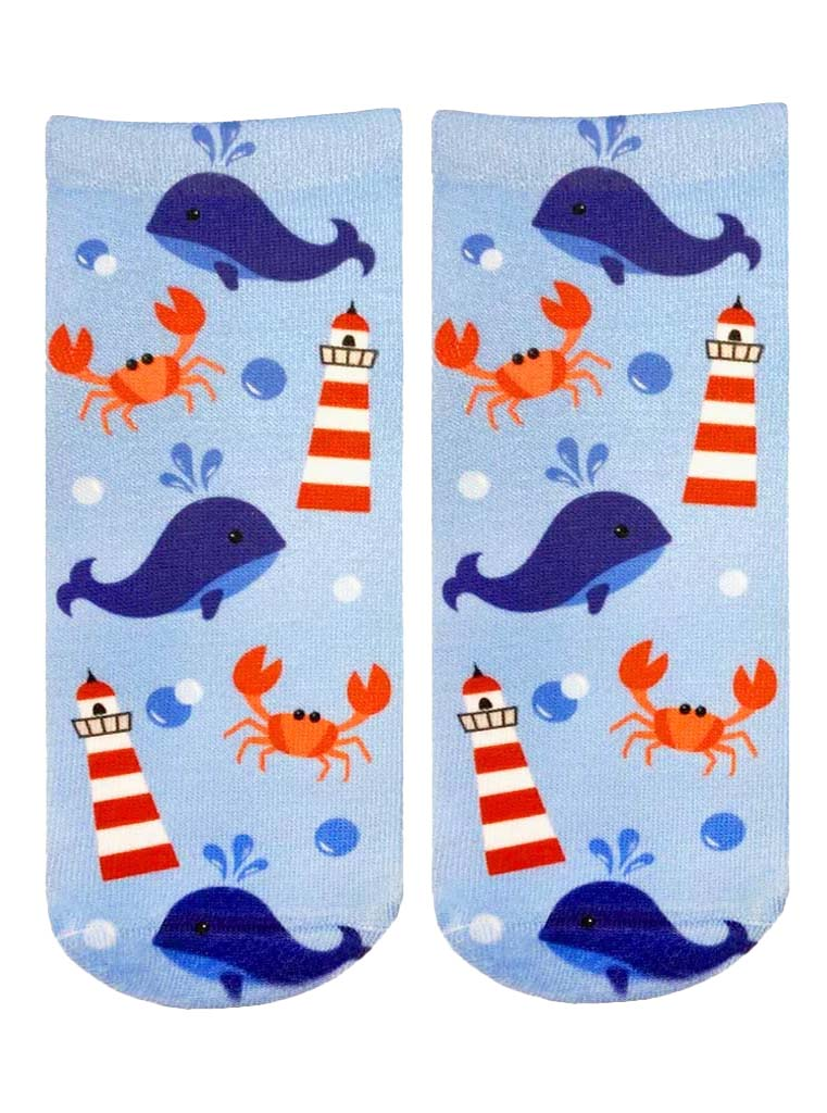 Lighthouse Whale Ankle Socks