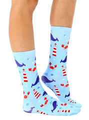 Lighthouse Whale Crew Socks
